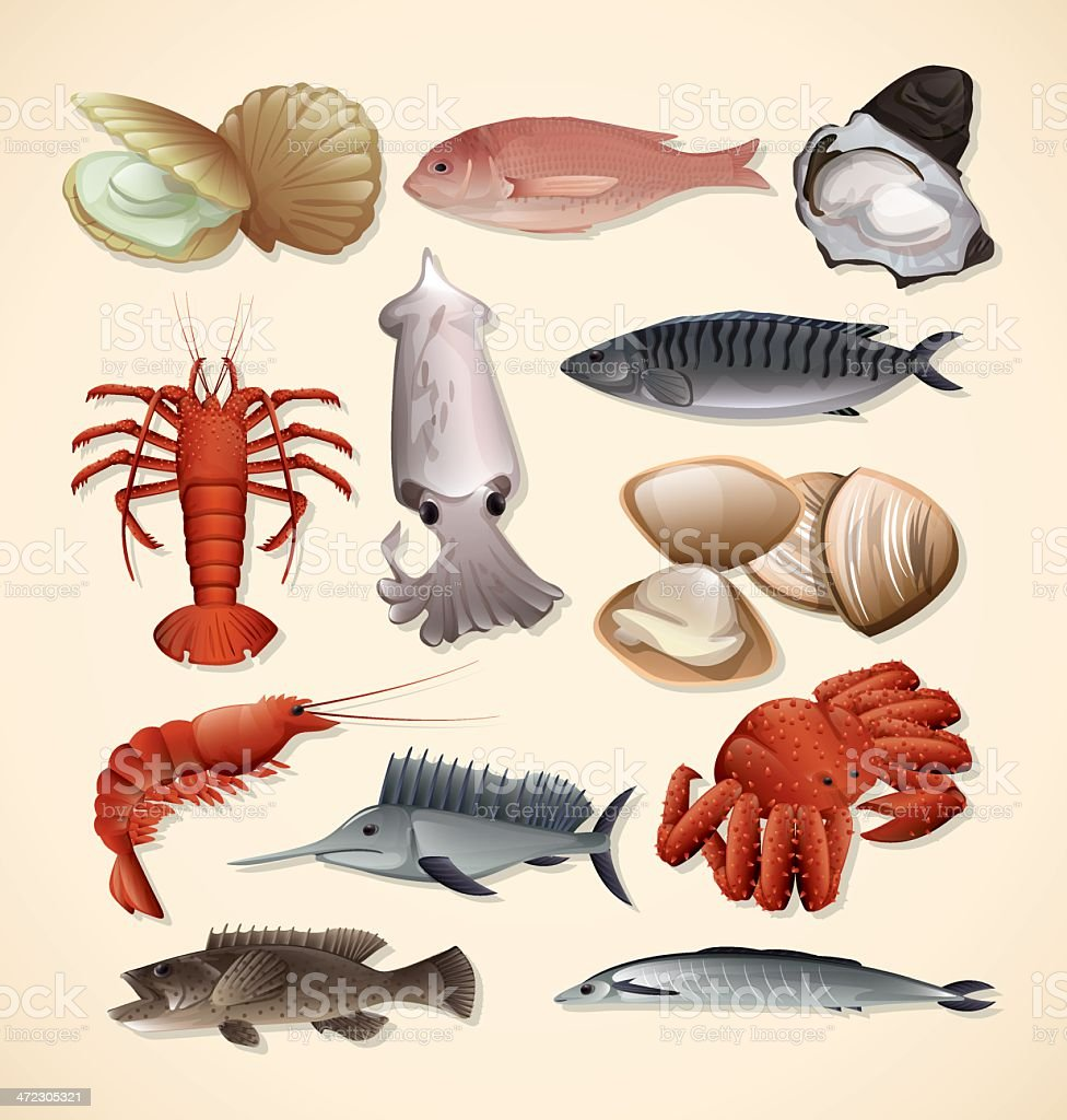 Seafood and Fish vector art illustration