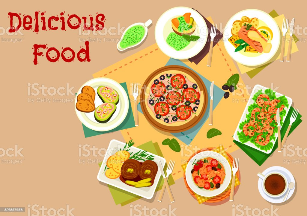 Seafood and olive dishes icon set for menu design vector art illustration