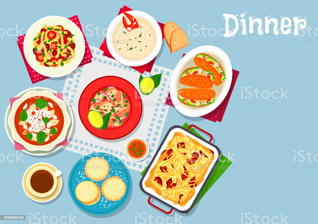 Seafood and pasta dishes icon for food design vector art illustration