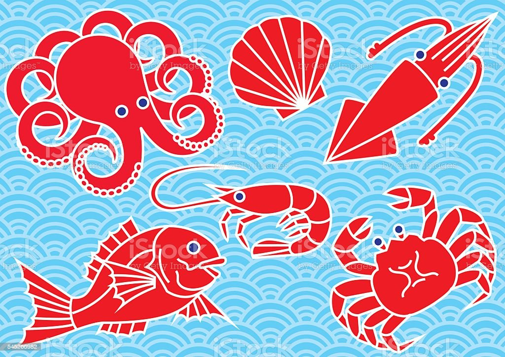 Seafood and waves. vector art illustration