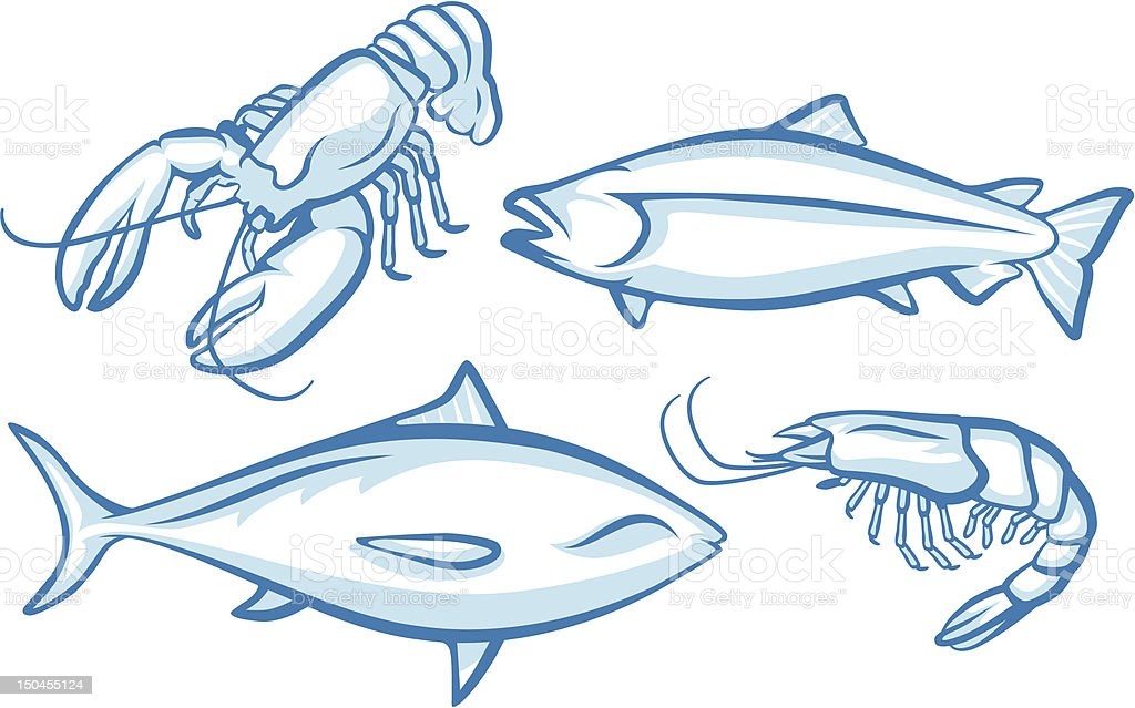 Seafood Animals royalty-free stock vector art