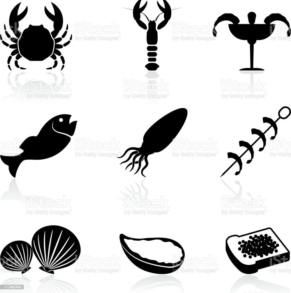 seafood black and white royalty free vector icon set royalty-free stock vector art