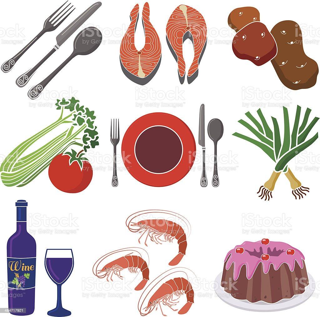 seafood dinner design elements vector art illustration