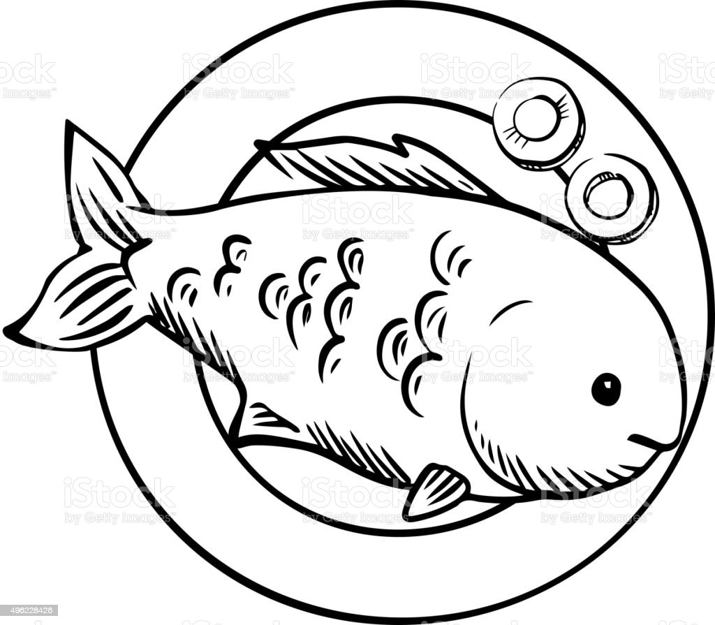 drawing of fried fish garnished clip art vector images