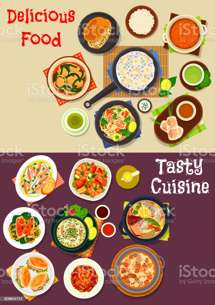 Seafood dishes icon for restaurant menu design vector art illustration