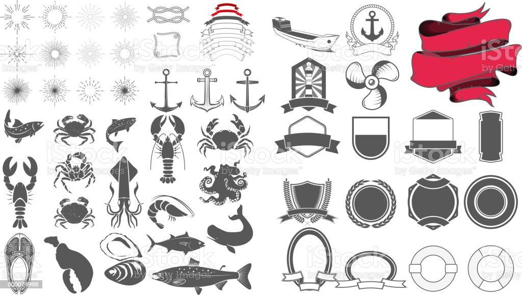 seafood emblem design elements set vector art illustration