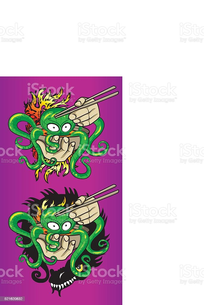 seafood exotic octopus soup fire flames dragon silhouette design vector art illustration