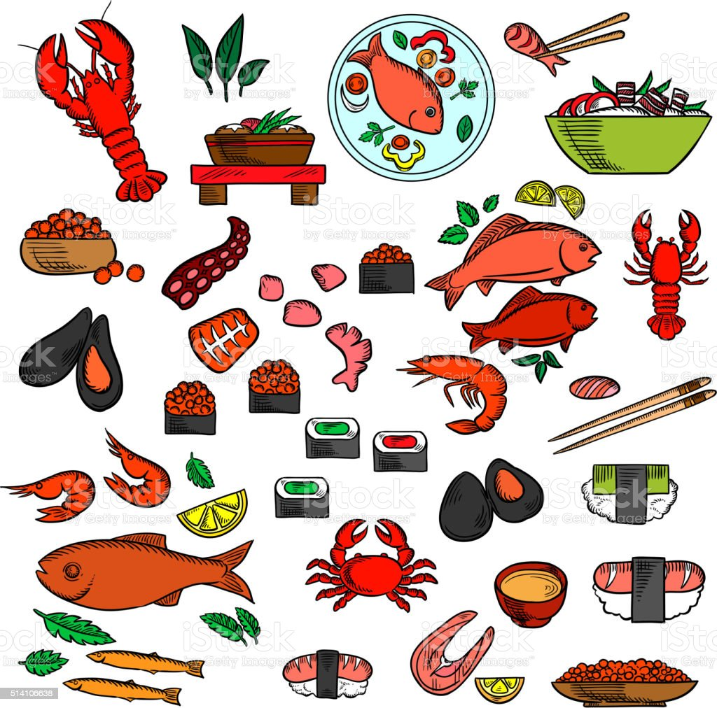 Seafood, fish and delicatessen icons vector art illustration