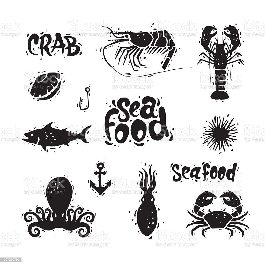 Seafood. Fish, crab, octopus, clam, sea urchin, shrimp. Lettering, calligraphy. vector art illustration