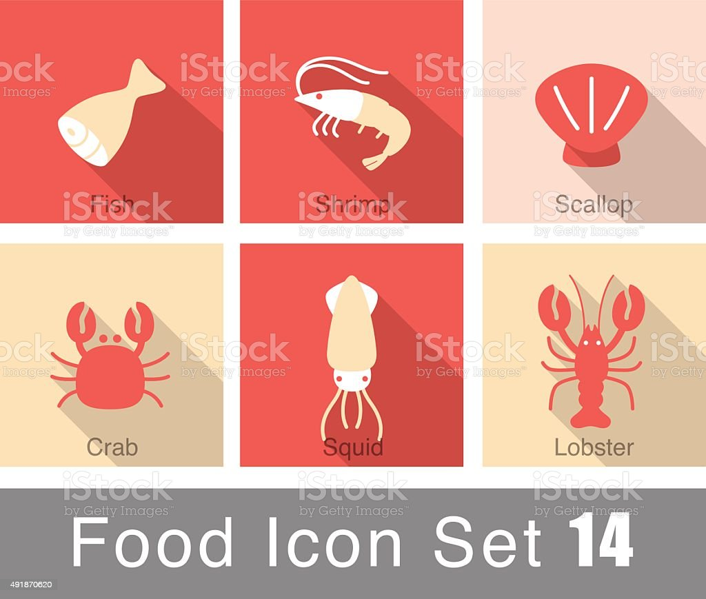Seafood food icon set vector art illustration