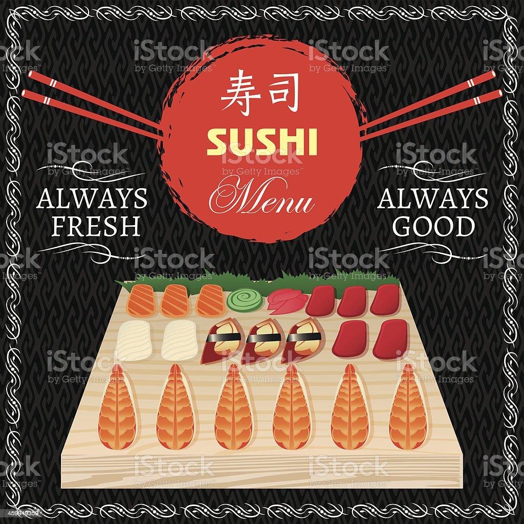 seafood for sushi menu royalty-free stock vector art
