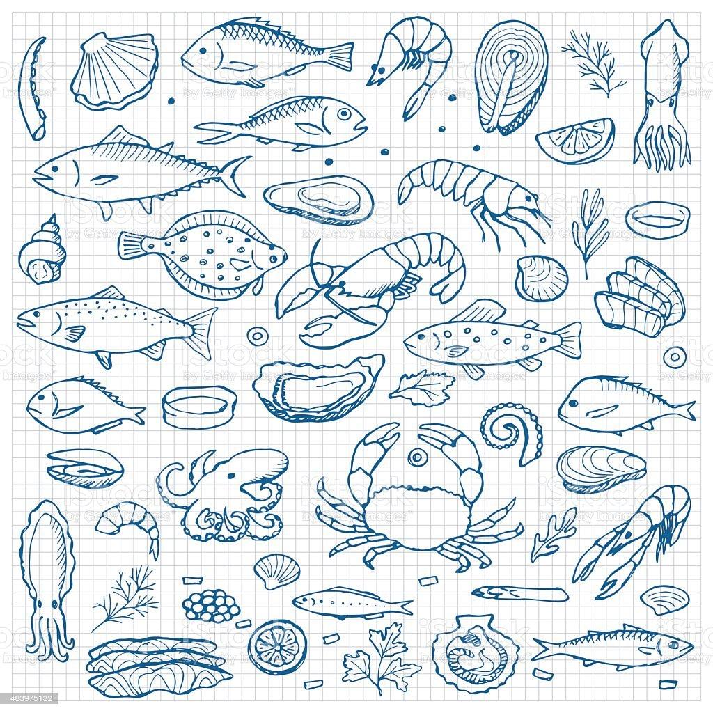 Seafood hand drawn doodle elements vector art illustration
