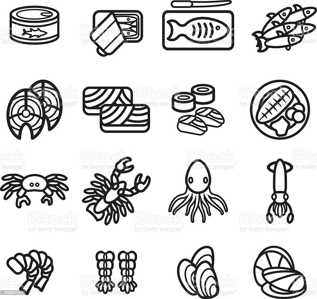 Seafood icon set. Vector eps 10. vector art illustration