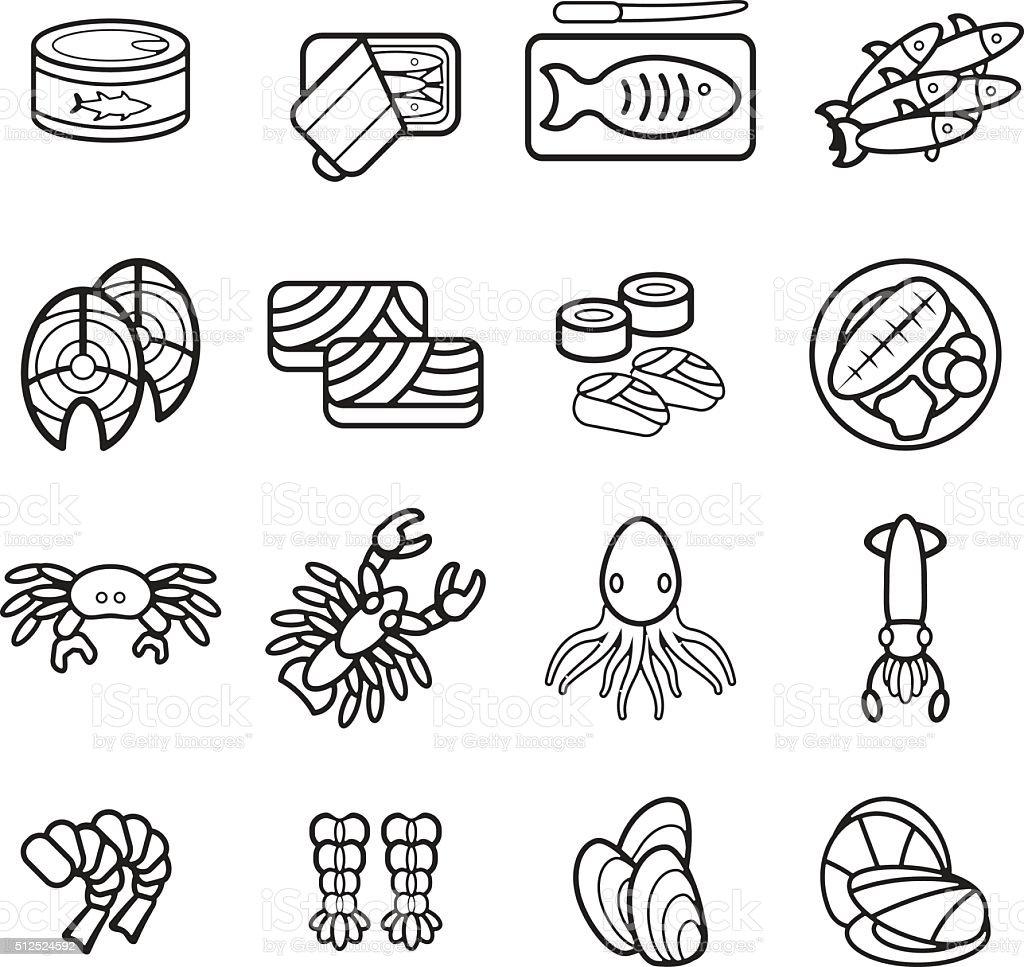 Seafood icon set. Vector eps 10. vector art illustration