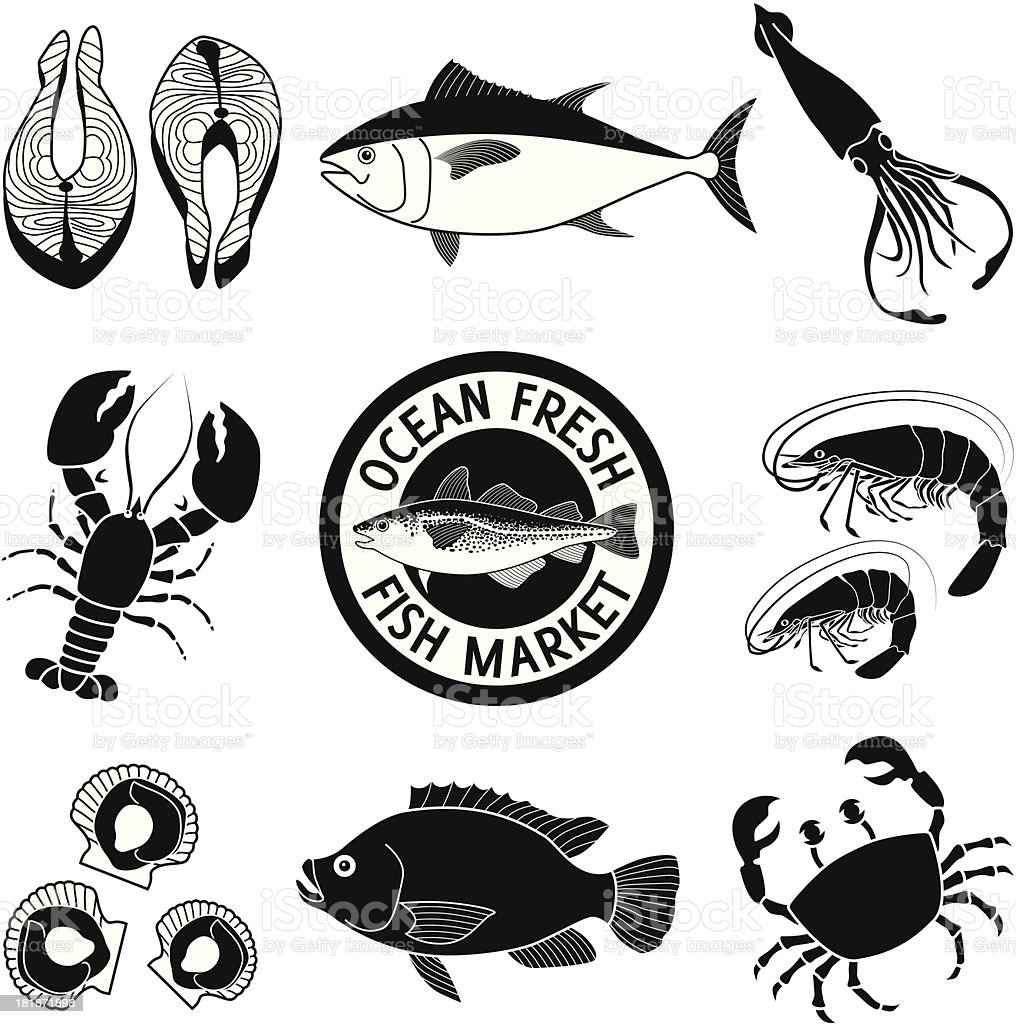 seafood icon set royalty-free stock vector art