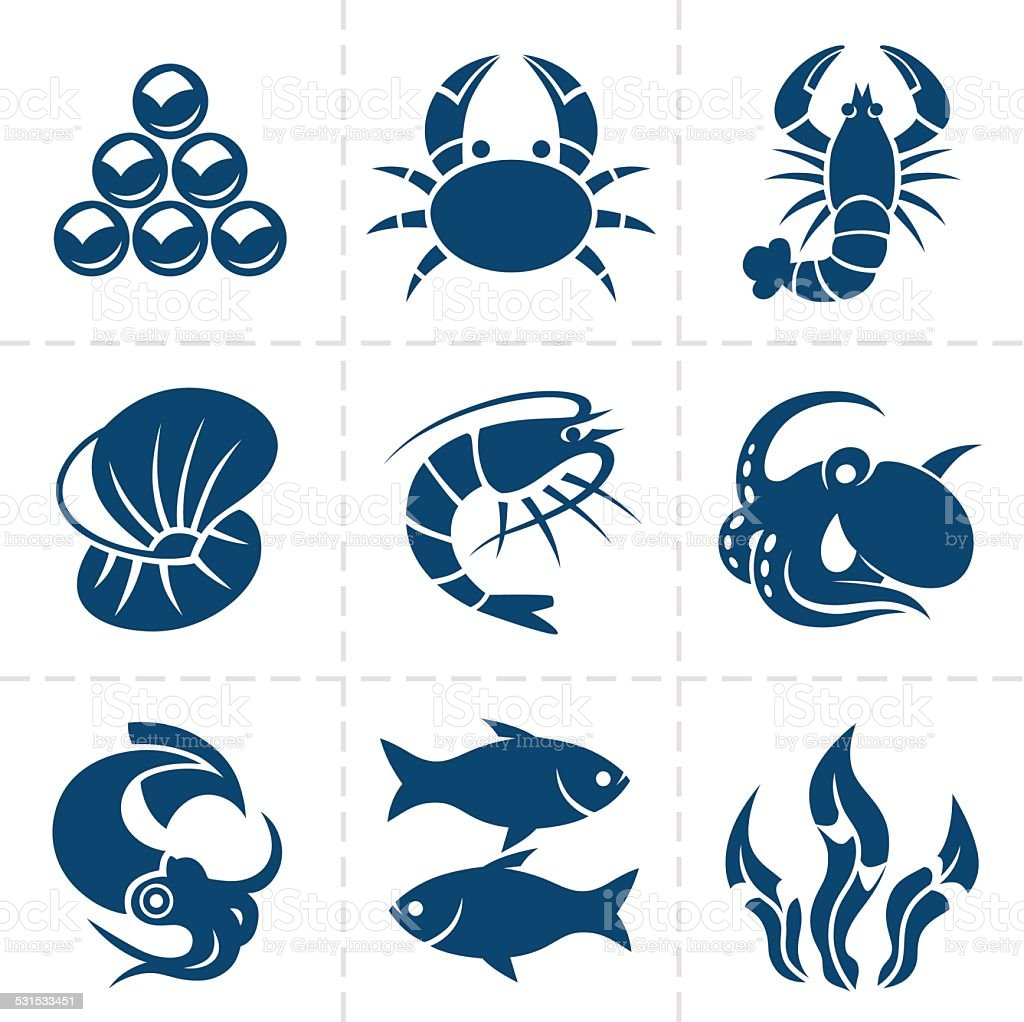Seafood icon set vector art illustration