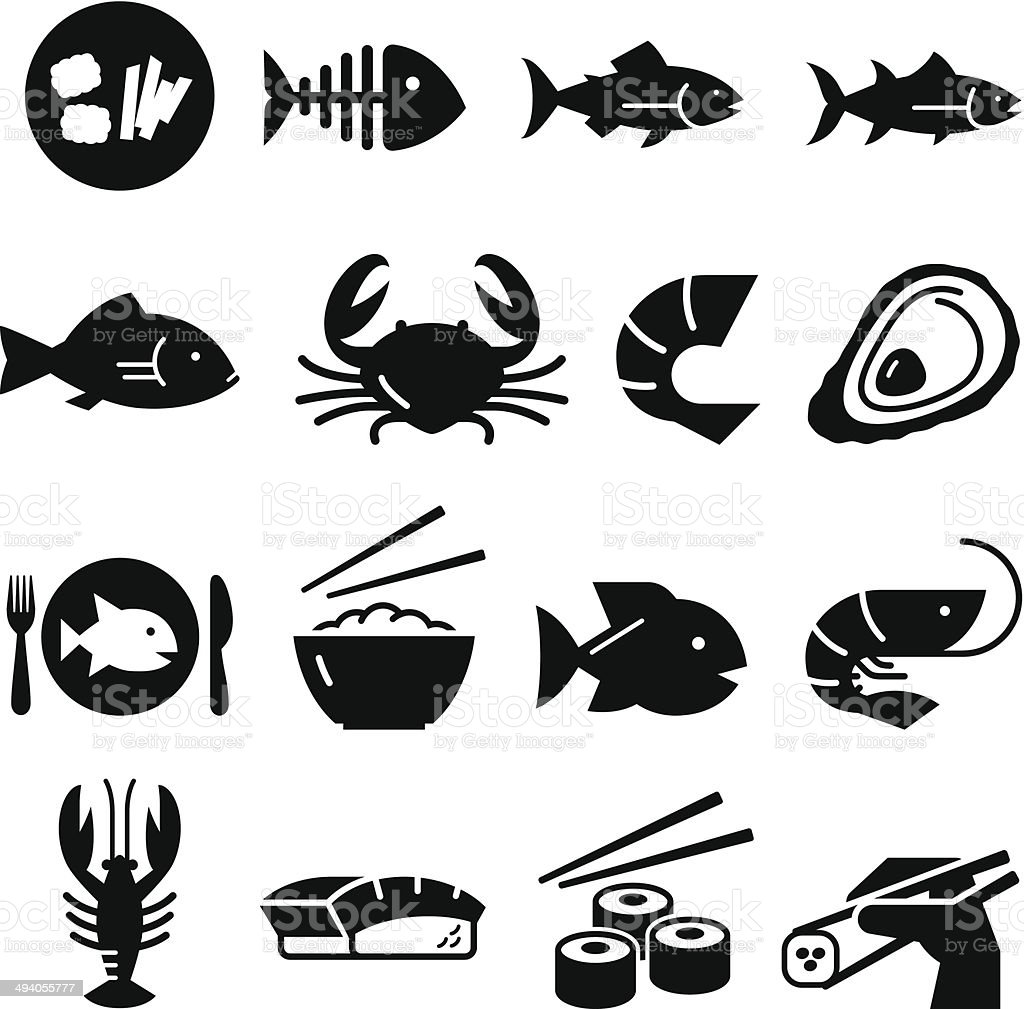 Seafood Icons - Black Series vector art illustration