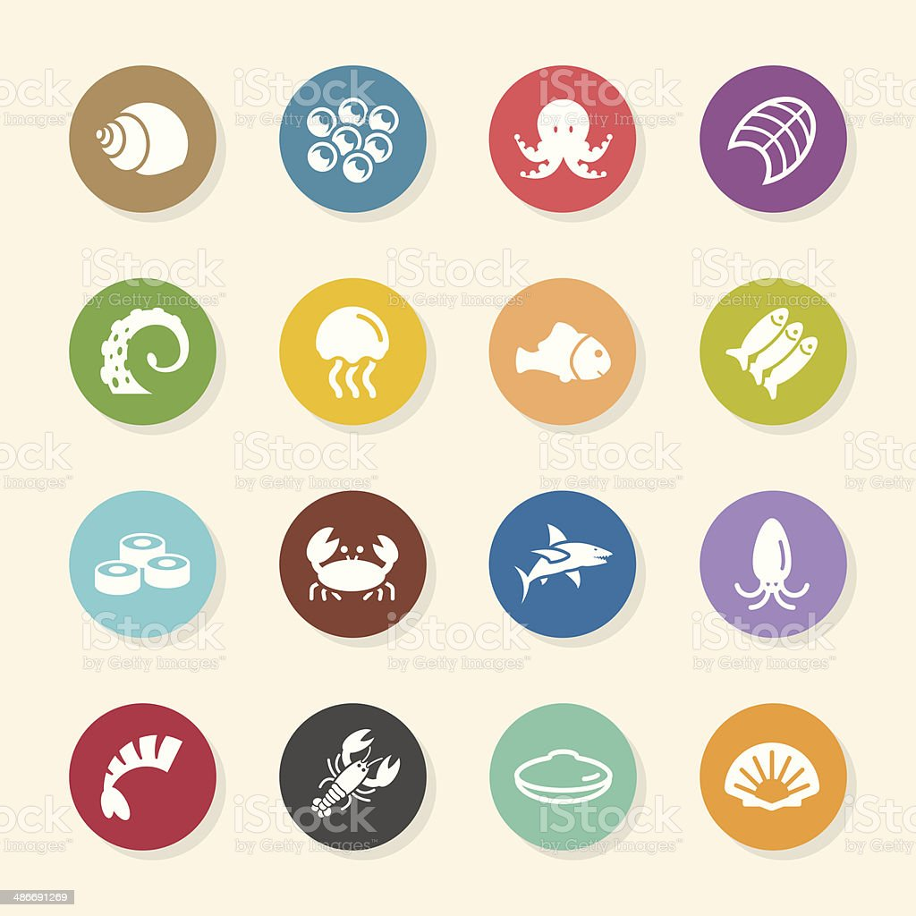 Seafood Icons - Color Circle Series vector art illustration