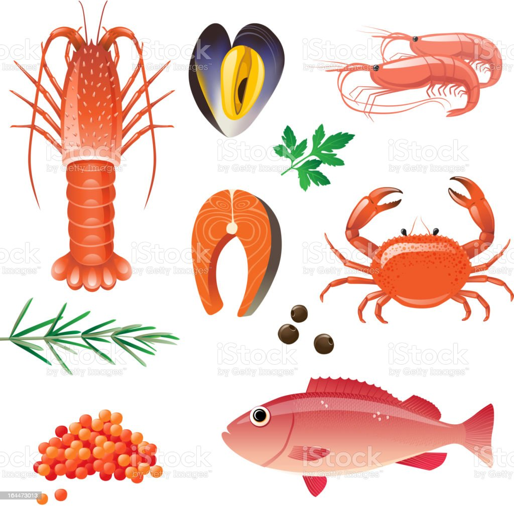 Seafood icons featuring fish and lobster vector art illustration