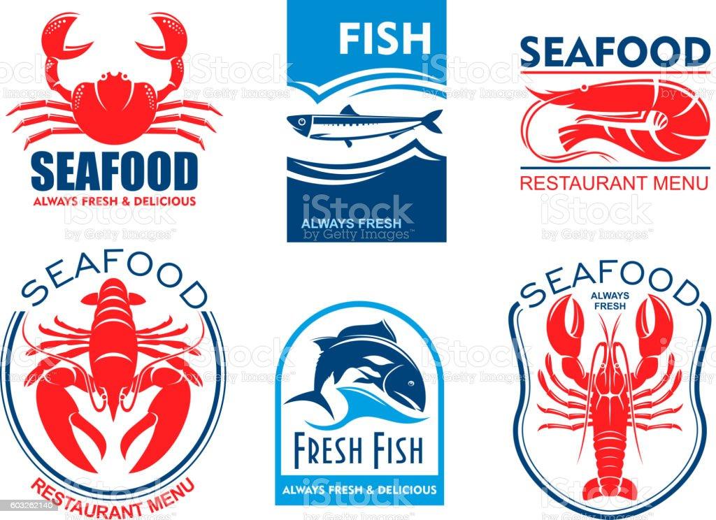 Seafood icons. Fresh fish restaurant menu vector art illustration