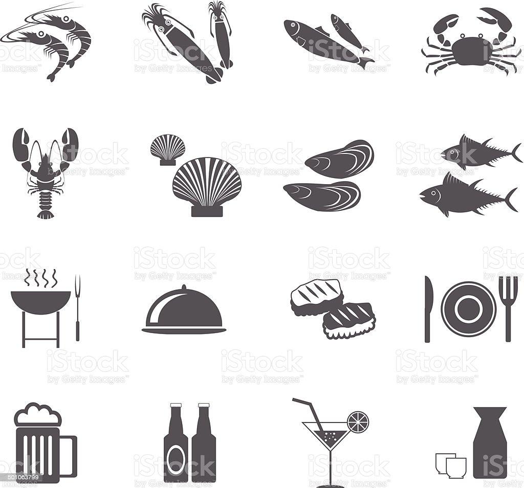 seafood icons, mono vector symbols. vector Illustration EPS10 vector art illustration
