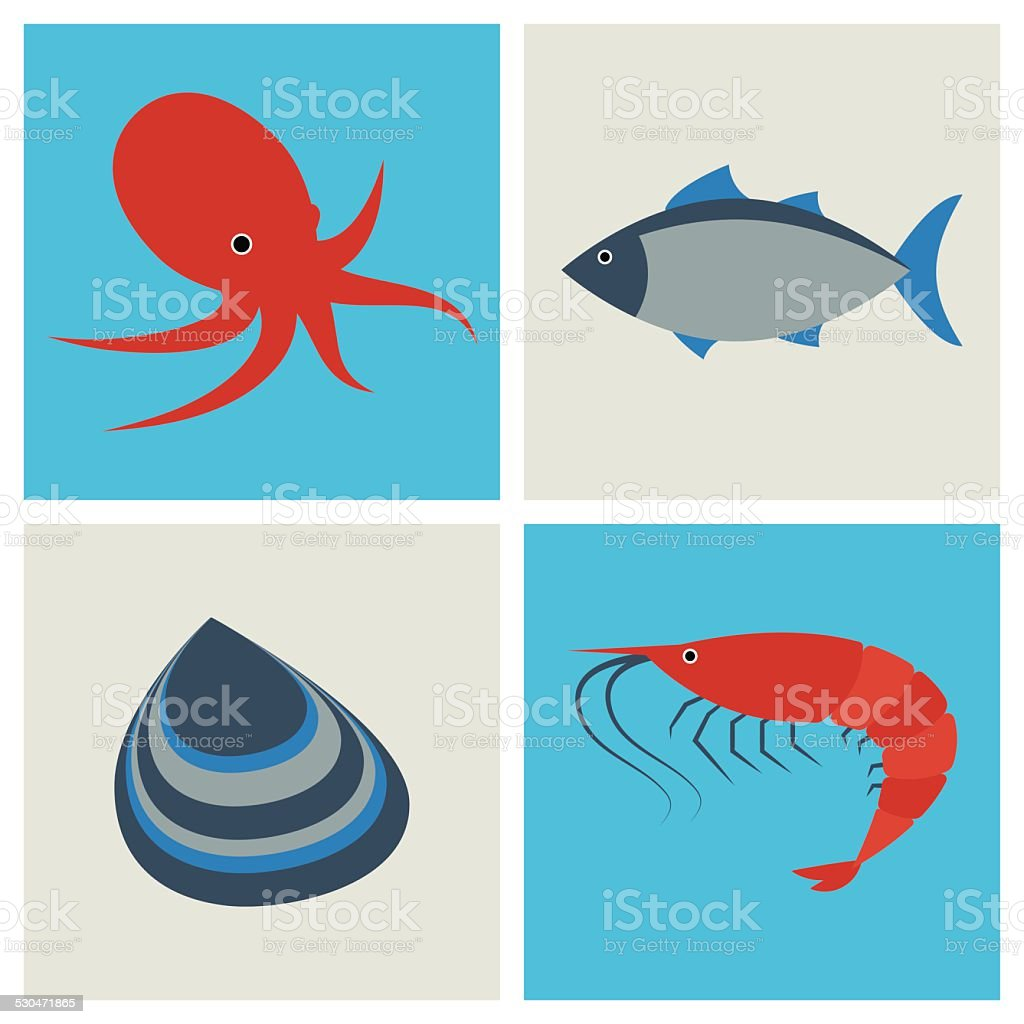 Seafood icons set vector art illustration