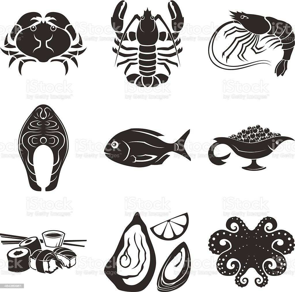 Seafood icons vector art illustration