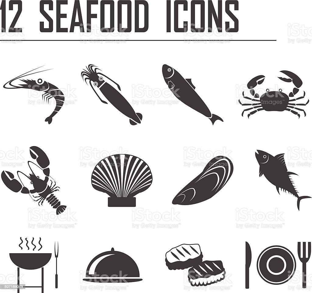 12 seafood icons vector art illustration