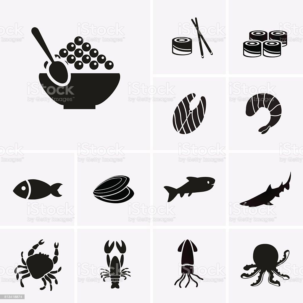 Seafood Icons vector art illustration