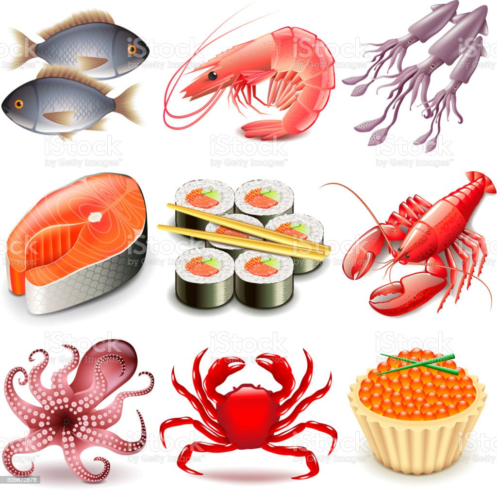 Seafood icons vector set vector art illustration