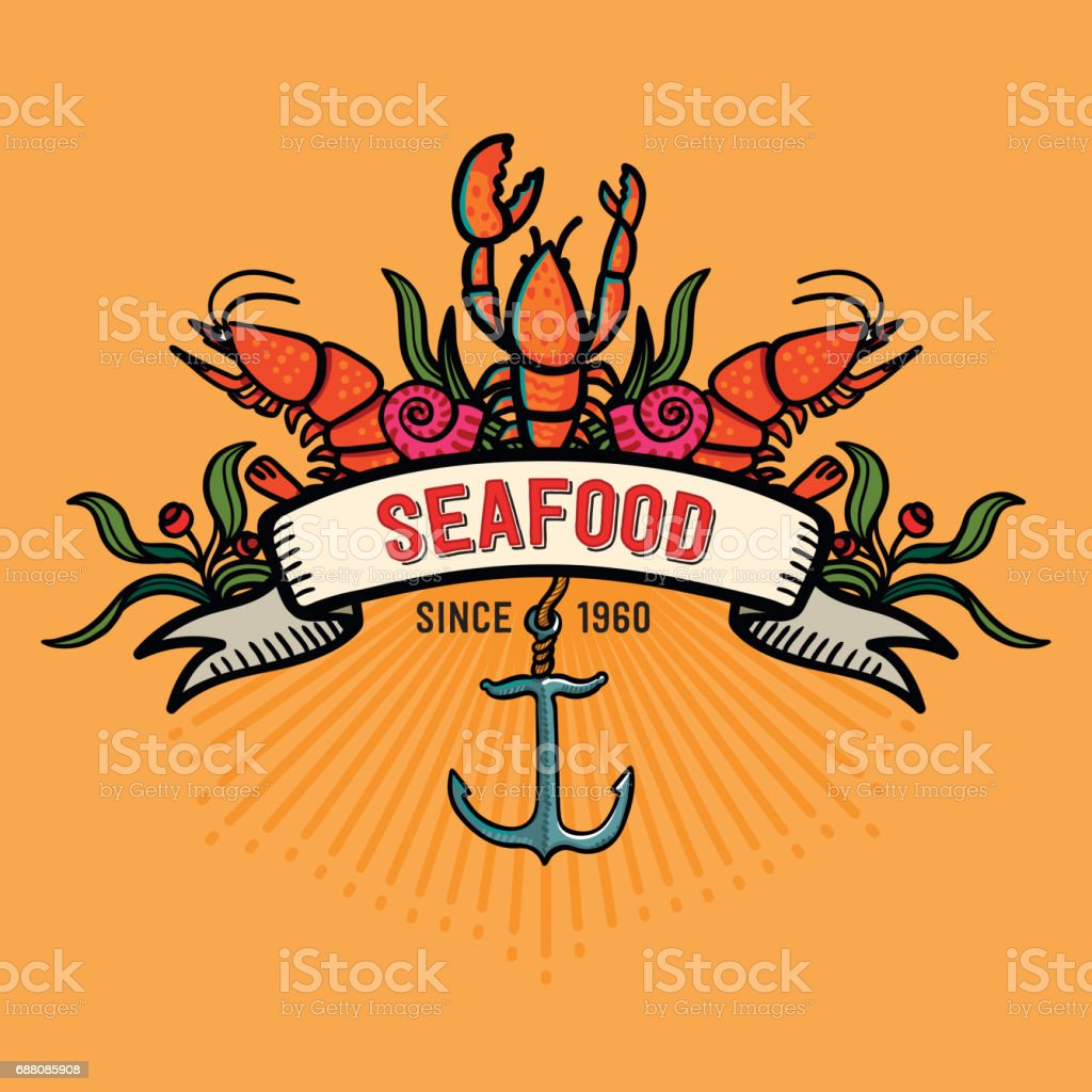 Seafood in cartoon style. Restaurant logo with lobster, shrimps snails, sea cabbage and anchor vector art illustration