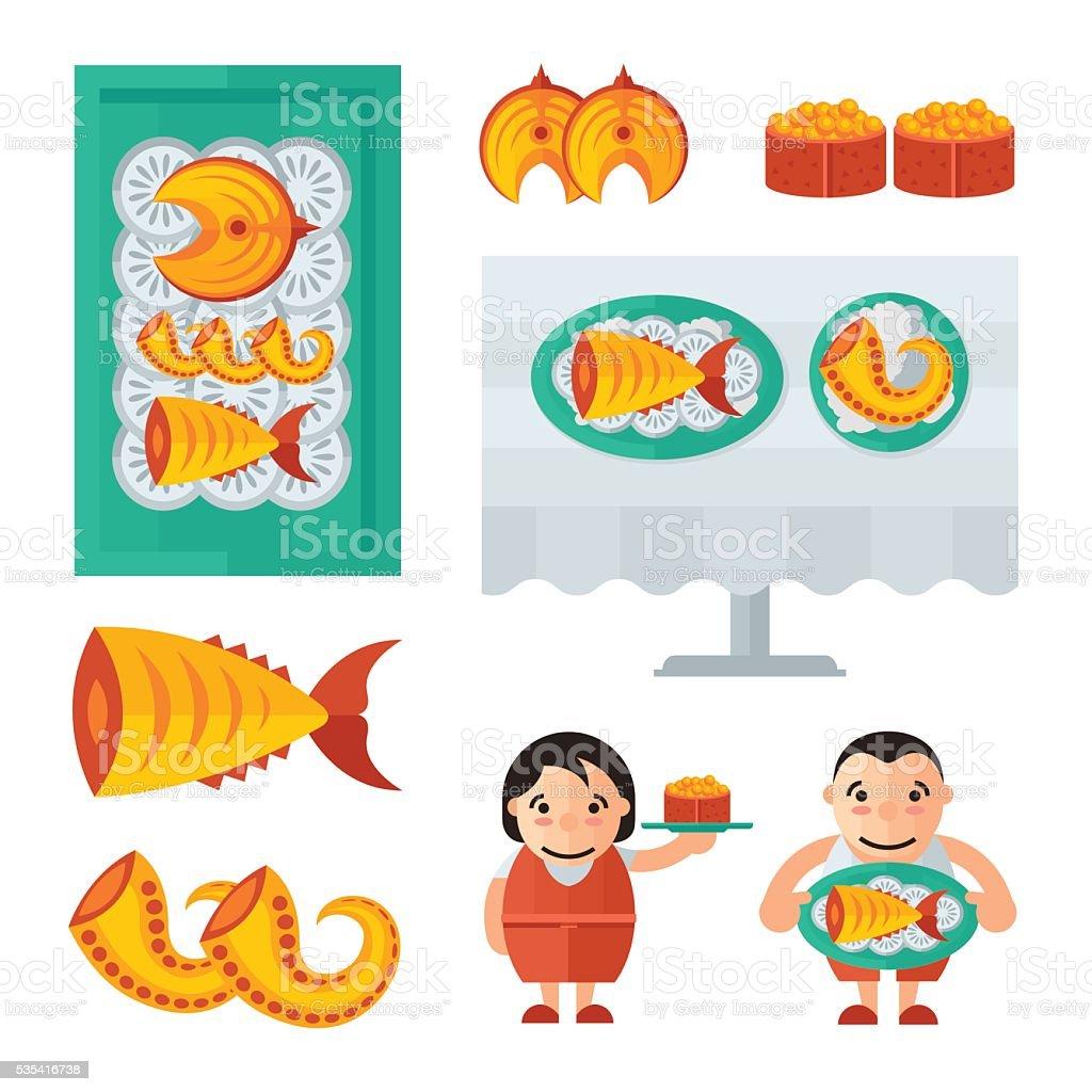 seafood in restaurant infographic blue, orange color vector art illustration