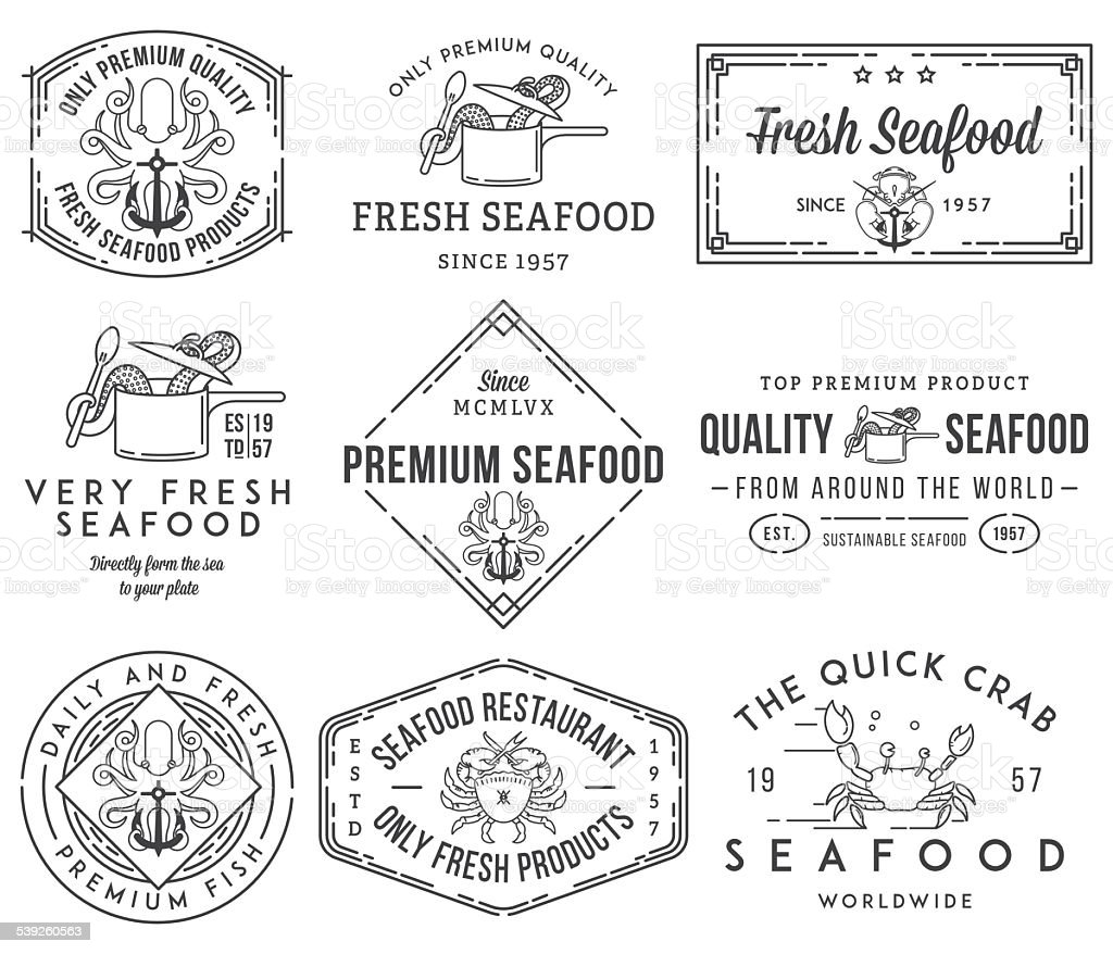 Seafood labels and badges vol. 1 black on white vector art illustration