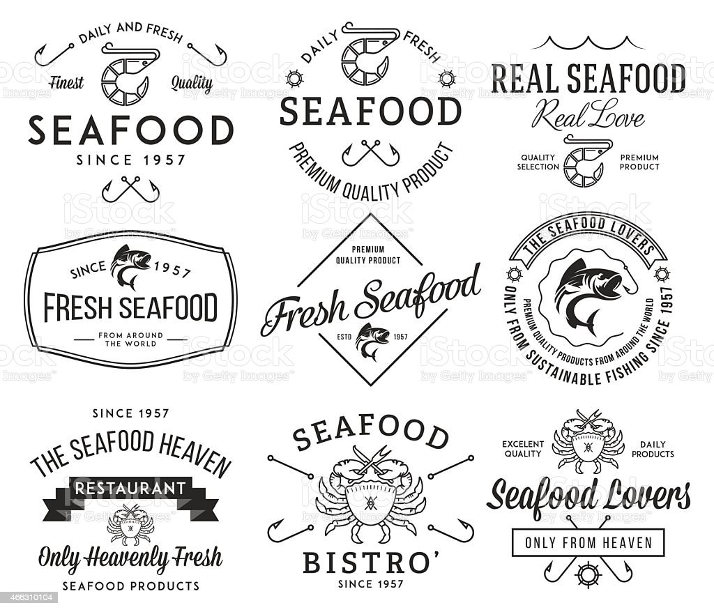 Seafood labels and badges vol. 2 black on white vector art illustration