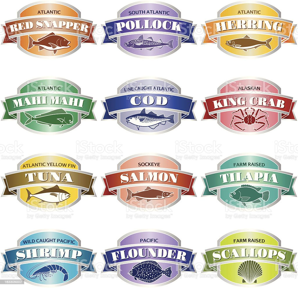 seafood labels or stickers royalty-free stock vector art