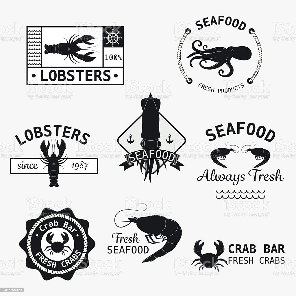 Seafood logotypes set. vector art illustration