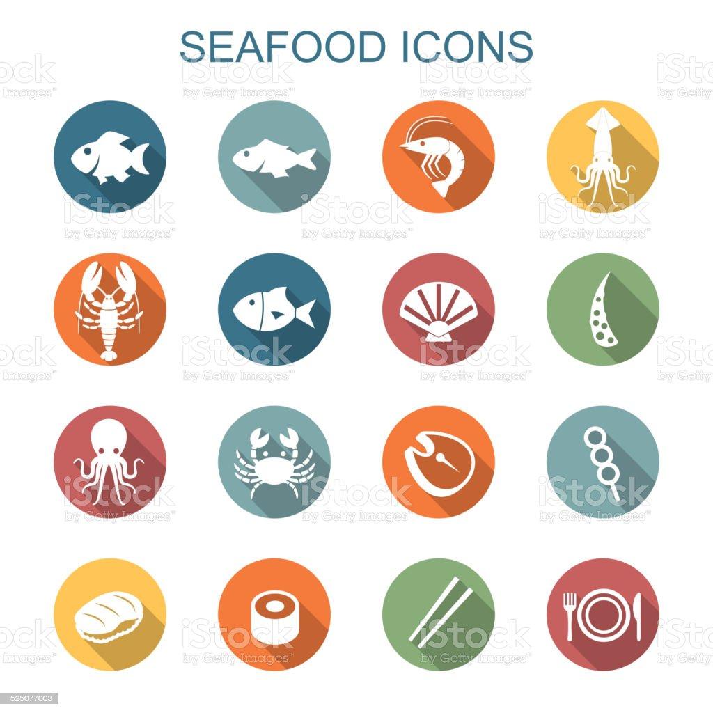 seafood long shadow icons vector art illustration