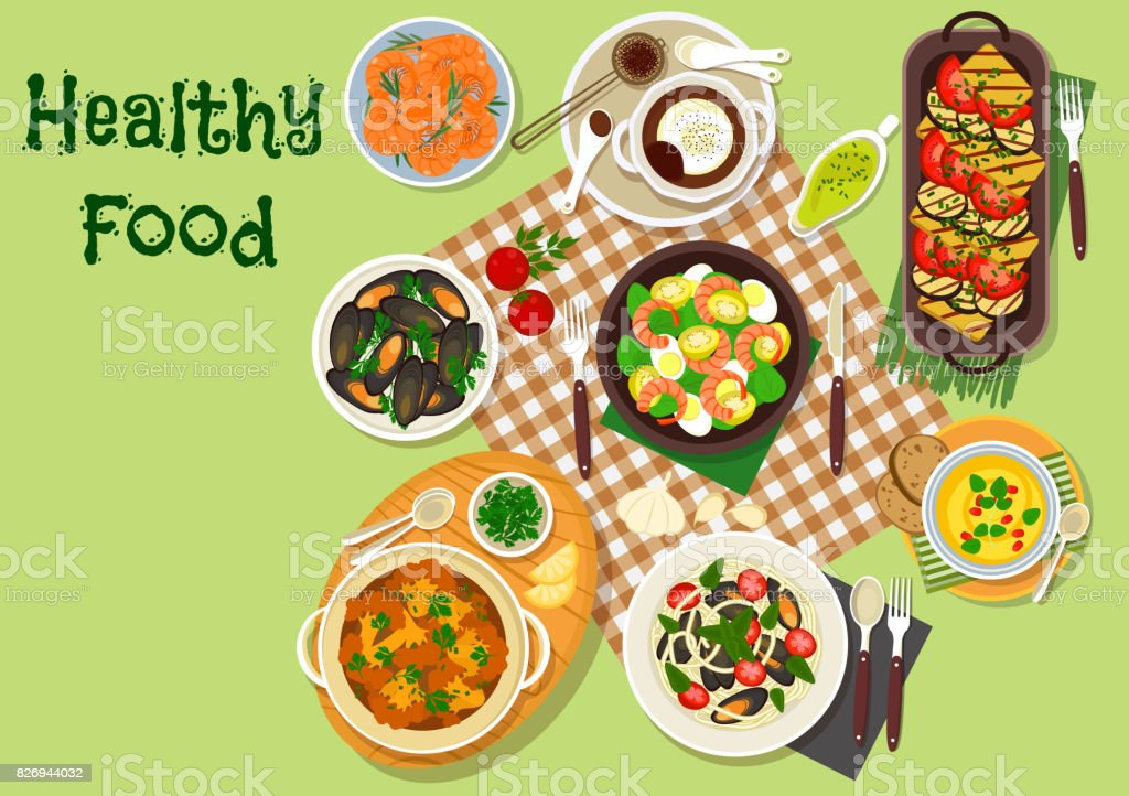 Seafood lunch dishes icon for menu design vector art illustration