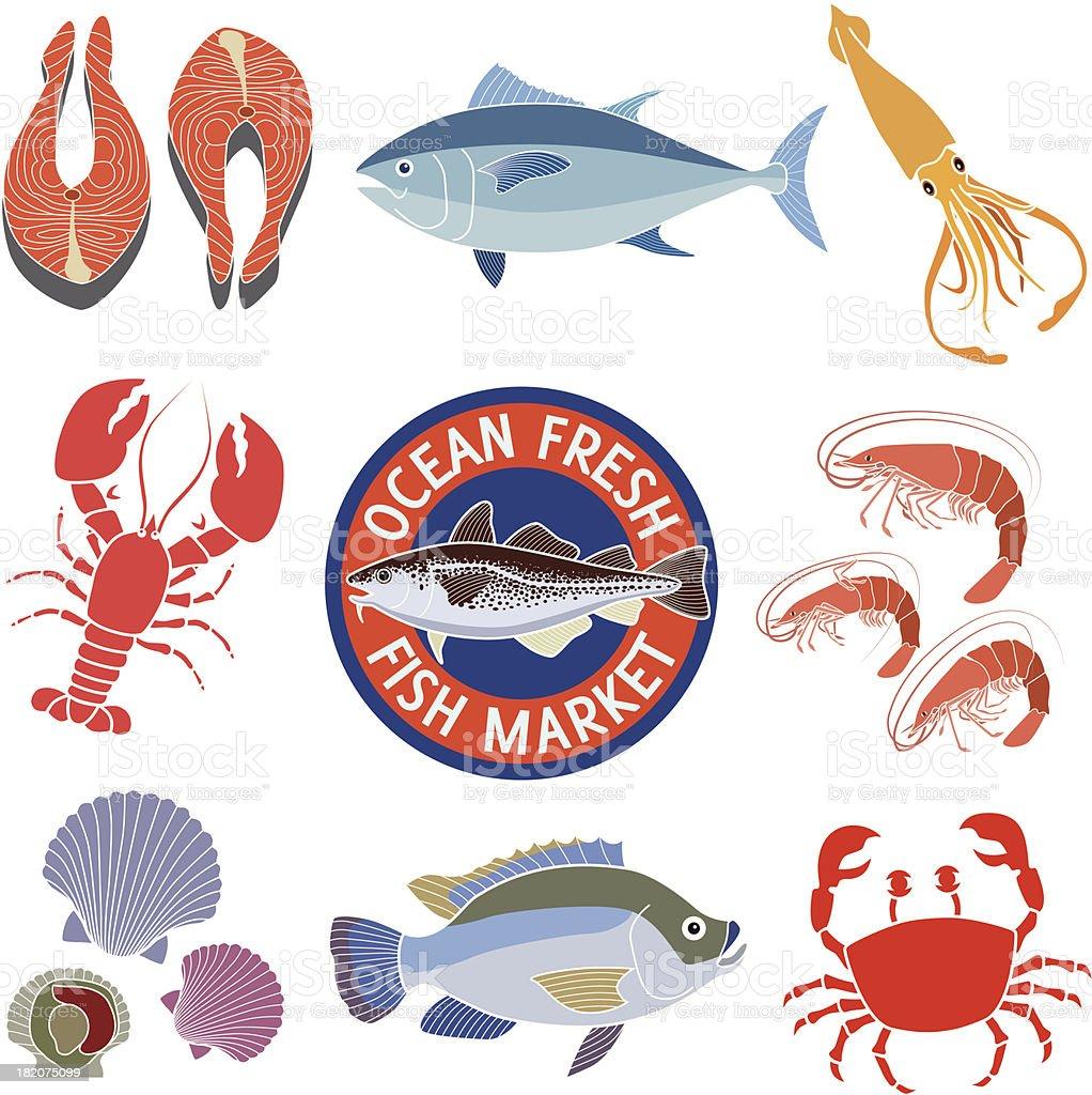 seafood market vector art illustration