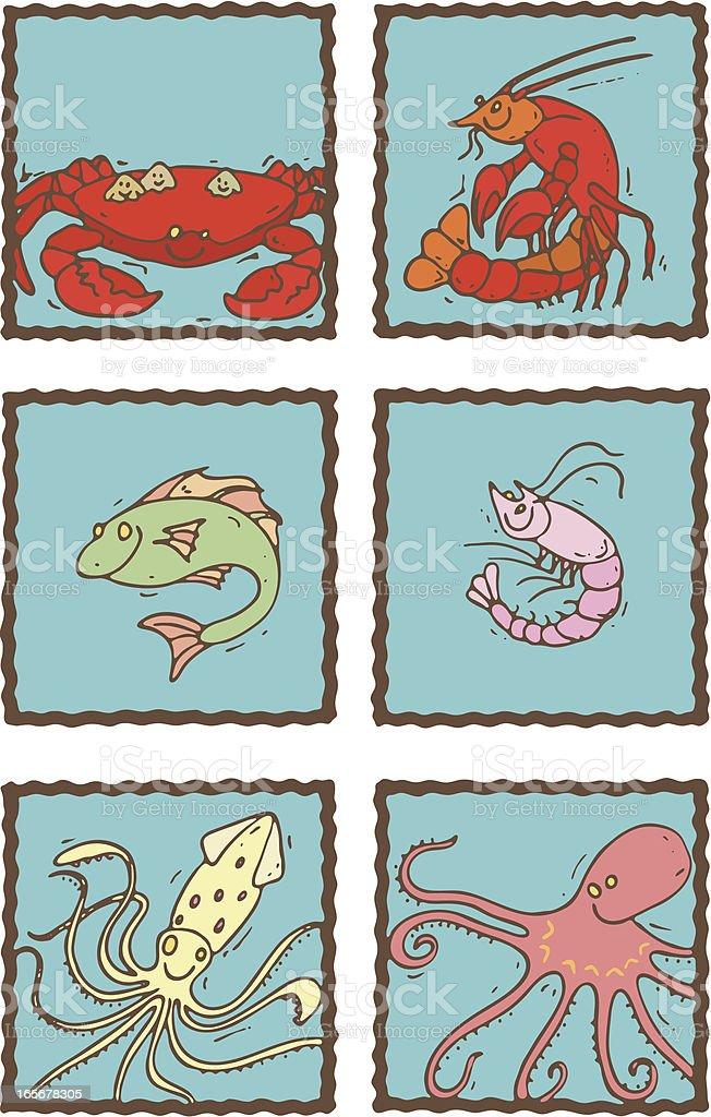 Seafood Menu Icons. royalty-free stock vector art