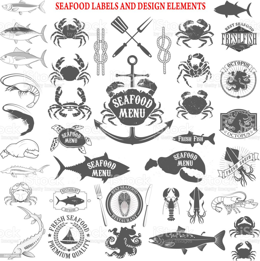 seafood menu labels set. Design elements for label, emblem vector art illustration