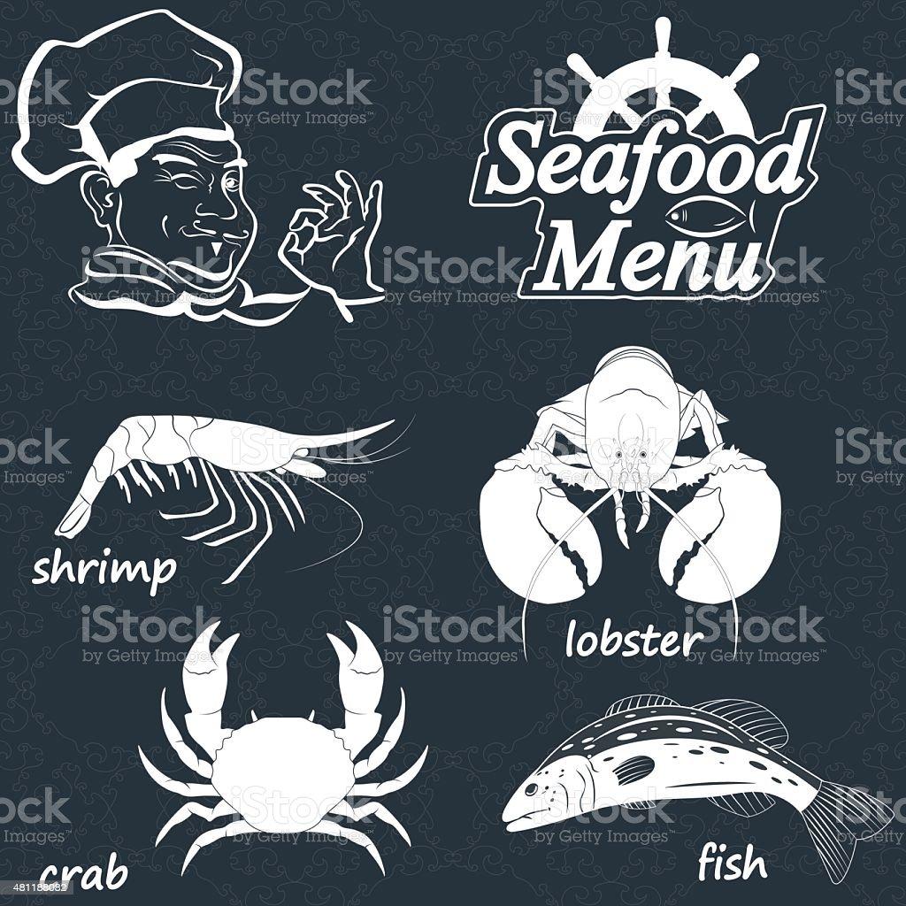 seafood menu vector art illustration
