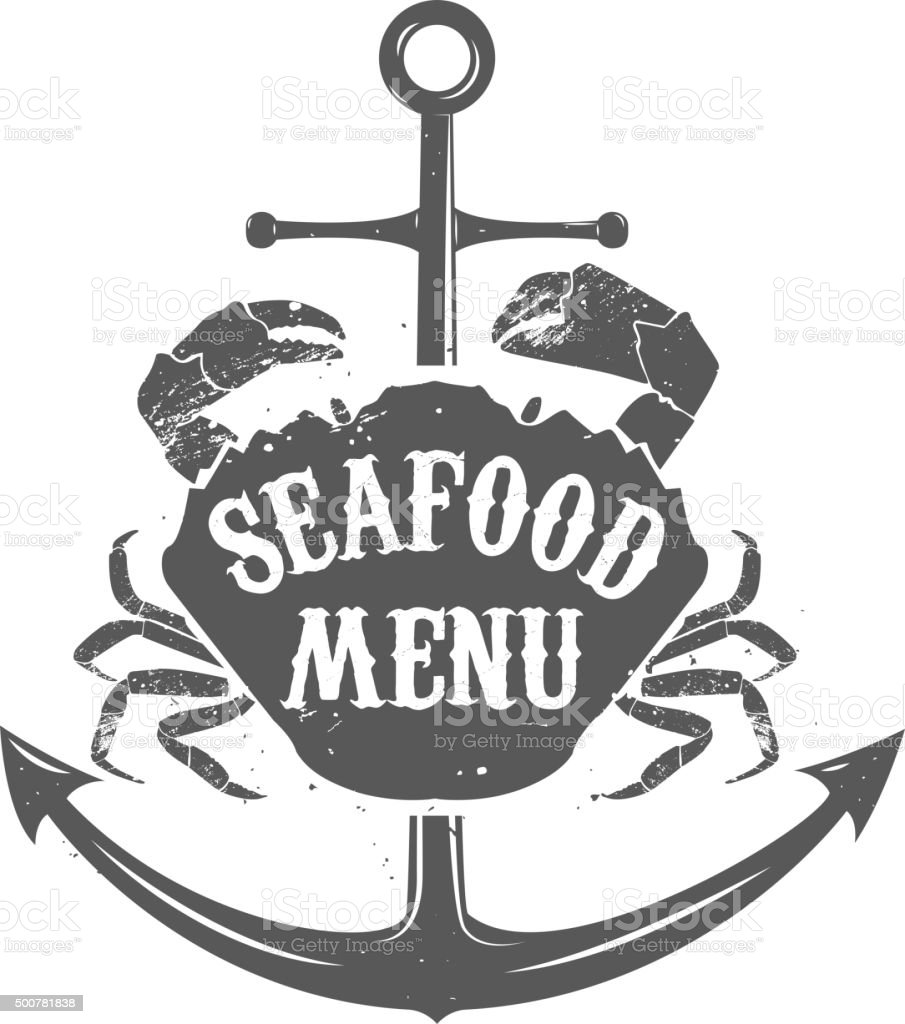 seafood meny label template. vector art illustration