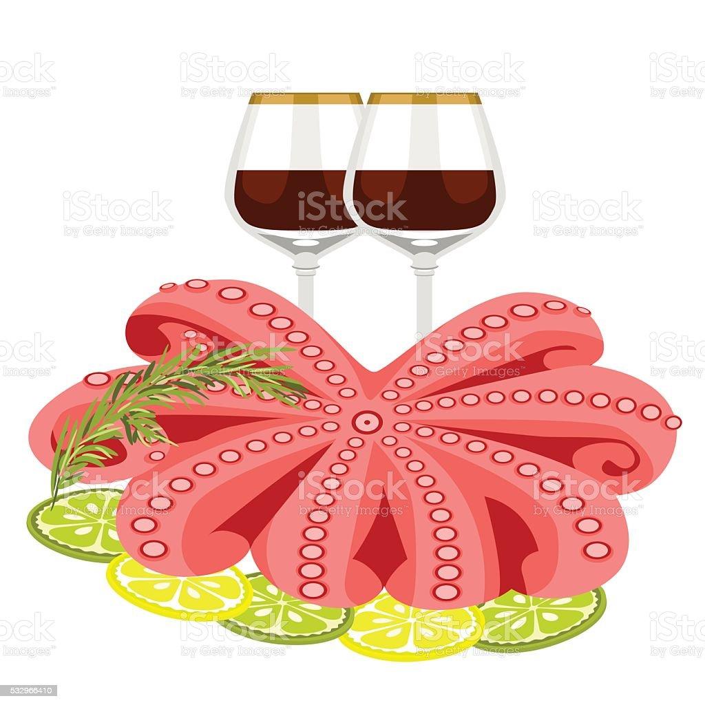 Seafood. Octopus lemon rosemary vector art illustration