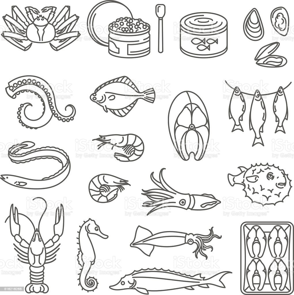 Seafood Outline Icons. vector art illustration