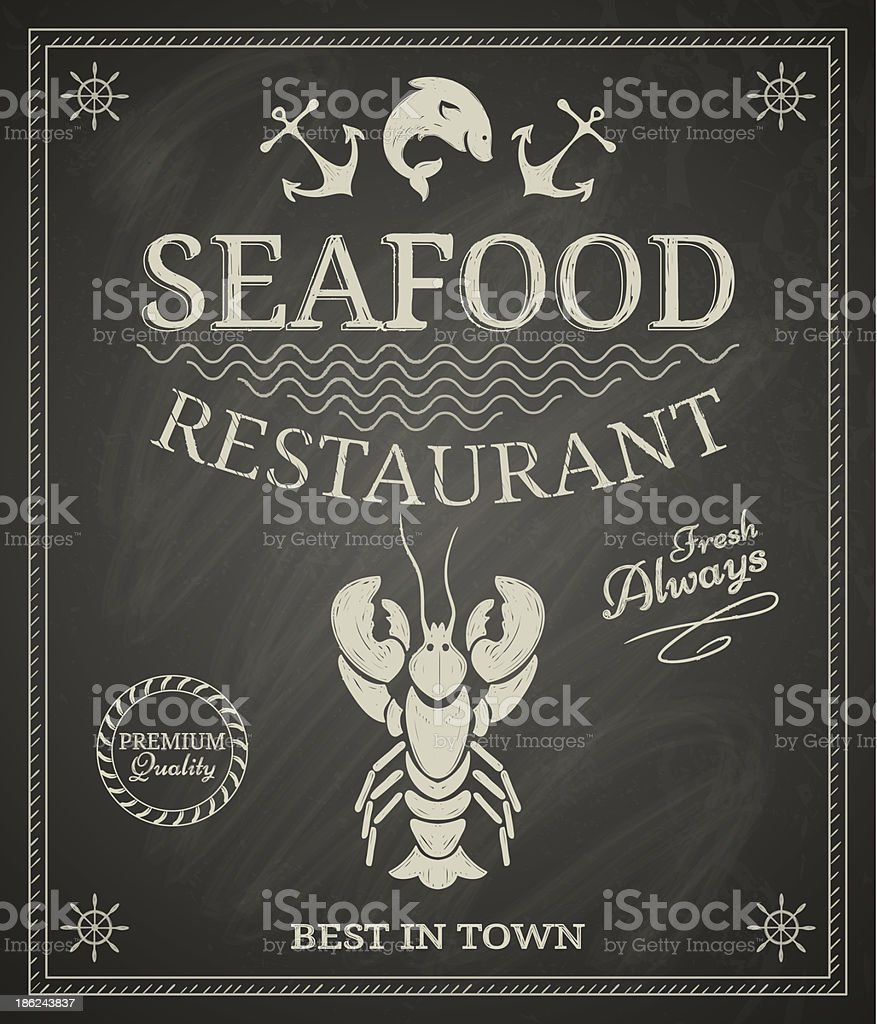 Seafood Poster vector art illustration