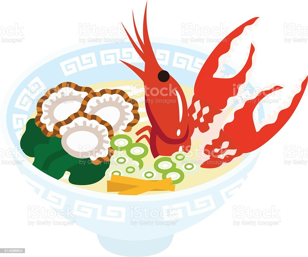 Seafood Ramen Noodles vector art illustration