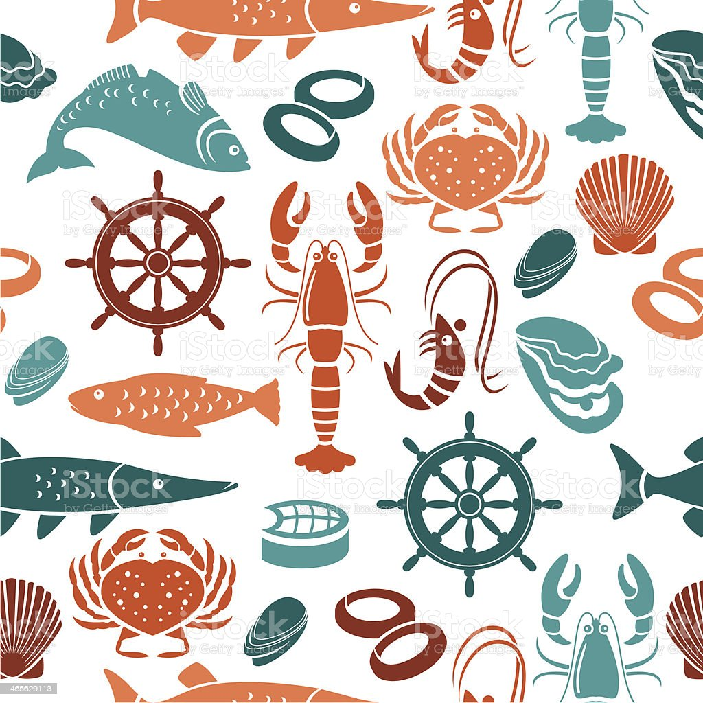 Seafood Repeat Pattern vector art illustration