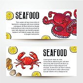 Seafood restaurant, cafe banner templates with crab and octopus