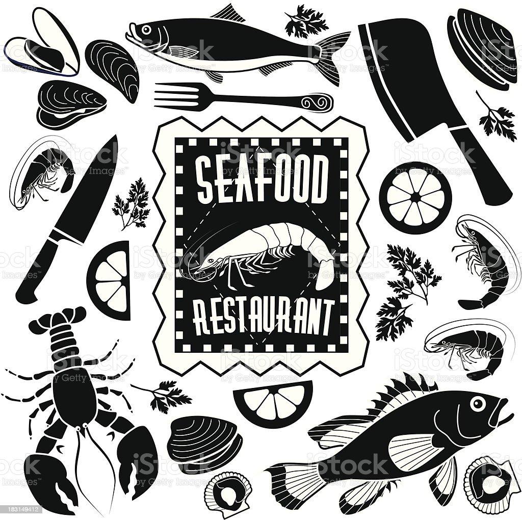 seafood restaurant design elements vector art illustration